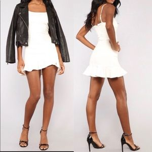 Fashion Nova White Ruffle Dress